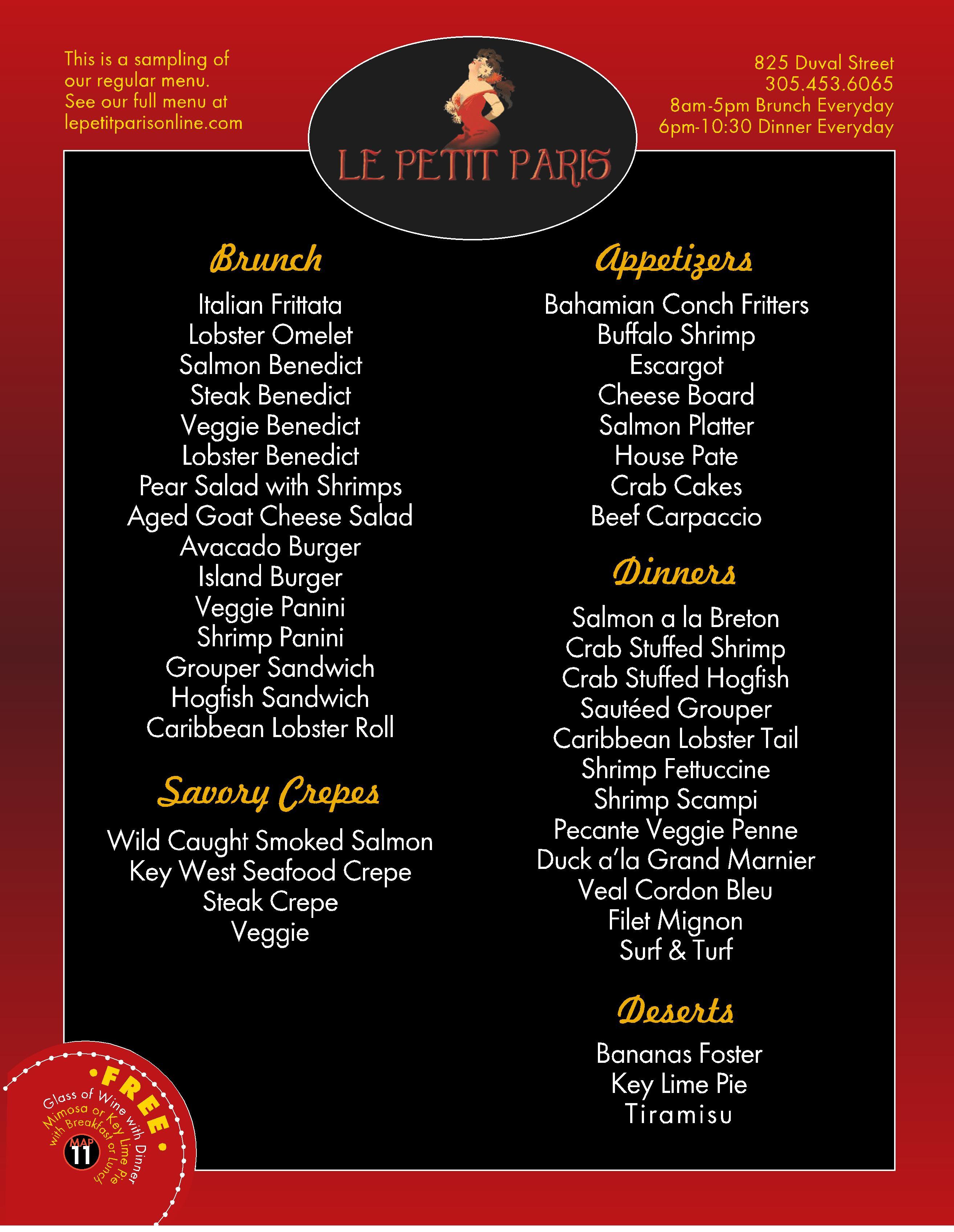 le petit paris restaurant menu key west u2013 best key west