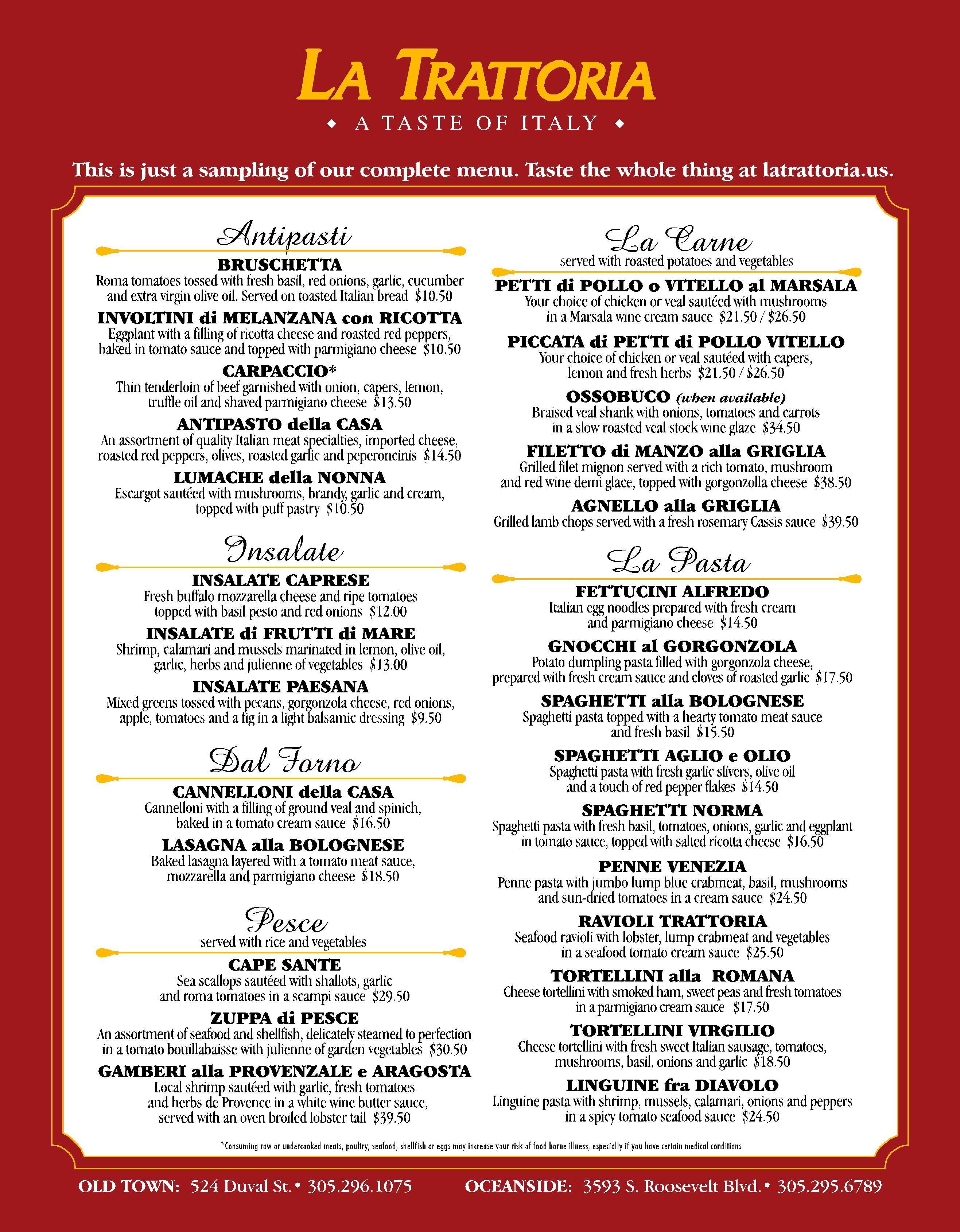 La Trattoria Italian Restaurant, Key West – Best Key West Restaurant ...
