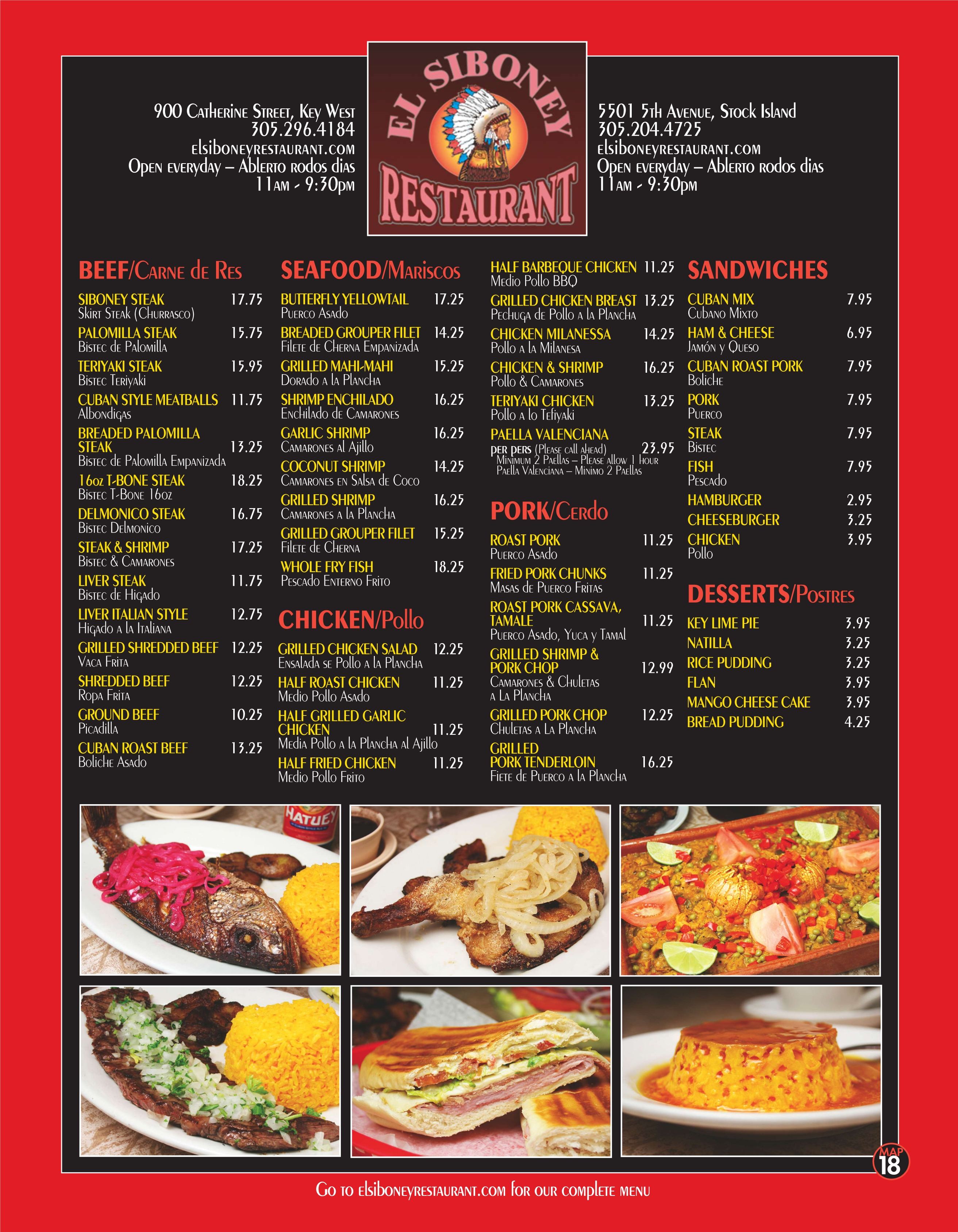 Southernmost Cafe Menu