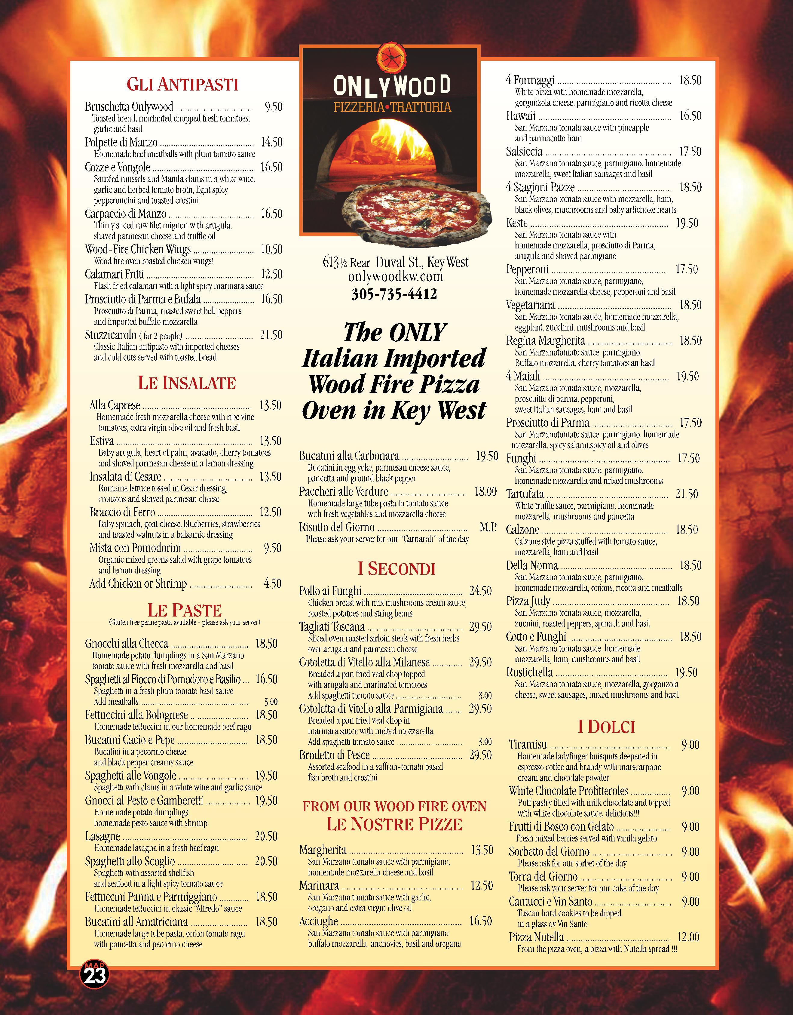 only wood pizzeria u2013 trattoria restaurant menu key west u2013 best