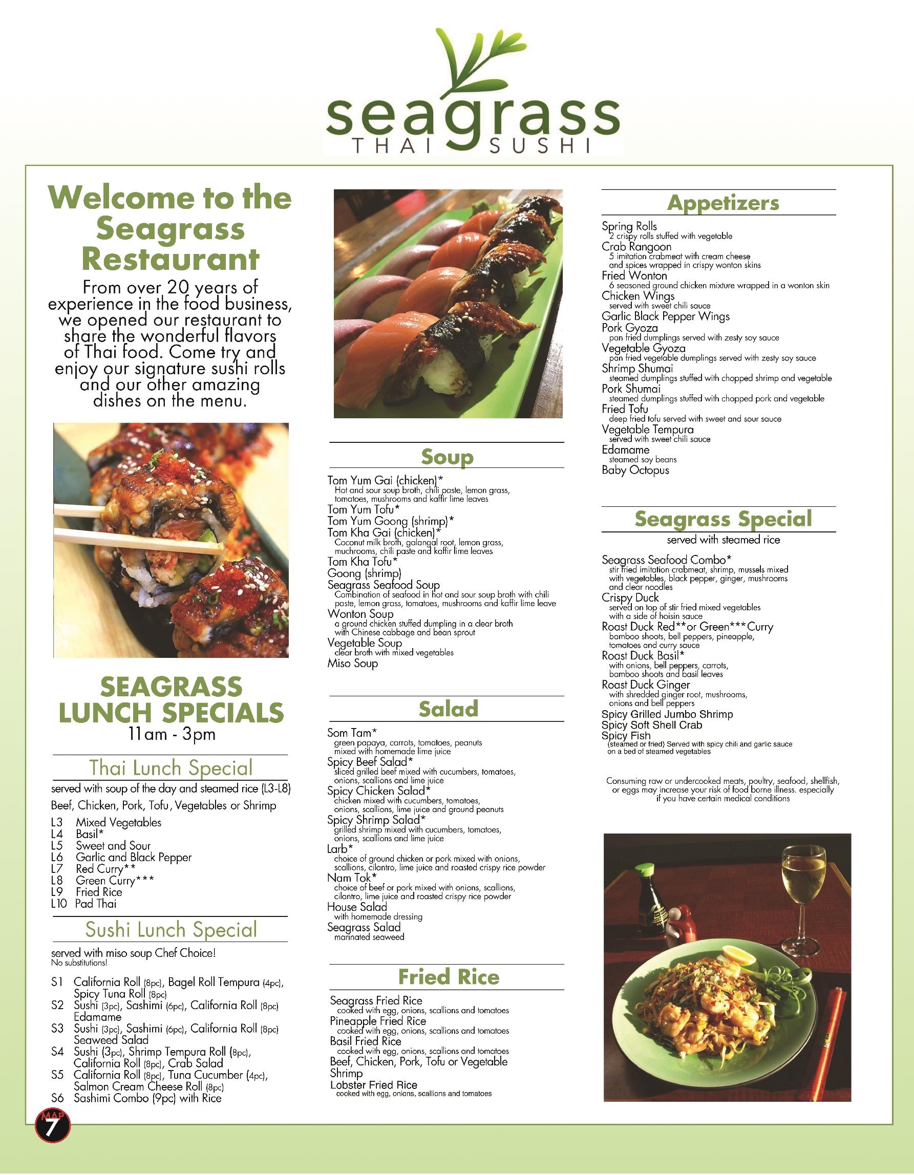 Seagrass Thai Sushi Restaurant Key West Best Key West Restaurant Menus Key West Florida