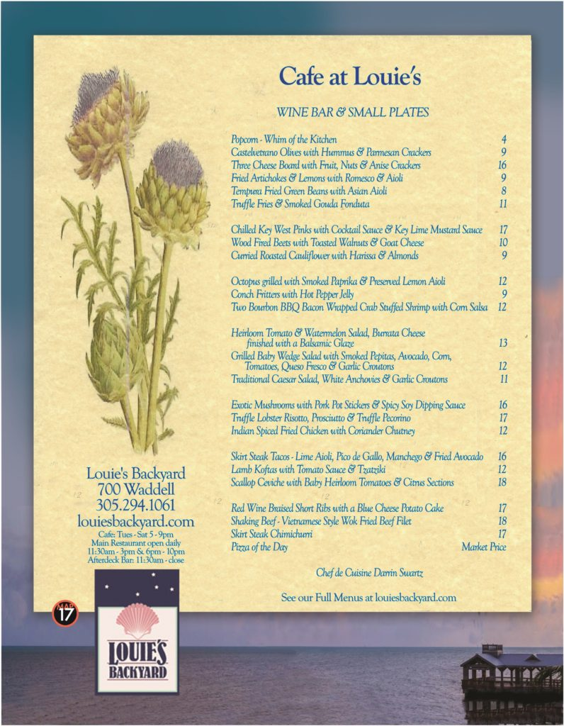 Louie's menu pg-a - Best Key West Restaurant Menus - Key ...